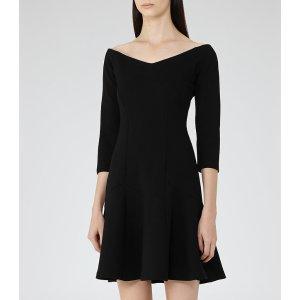 Kitty Black Off-The-Shoulder Dress