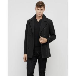 Faux Leather Trim Pea Coat   Kenneth Cole