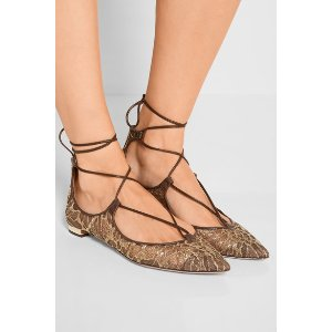 Aquazzura | Christy leather-trimmed embroidered mesh point-toe flats | NET-A-PORTER.COM