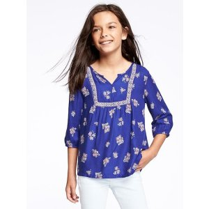 Embroidered Floral 3/4-Sleeve Top for Girls | Old Navy