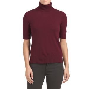 Cashmere Elbow Sleeve Turtleneck Sweater