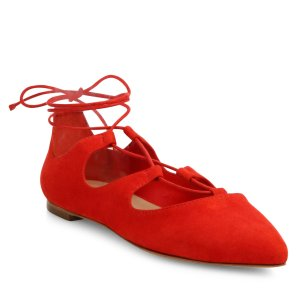 Ambra Point-Toe Suede Lace-Up Flats by Loeffler Randall