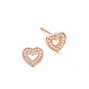 Rose Gold Vermeil Mini Heart Biography Stud Earrings | Astley Clarke London