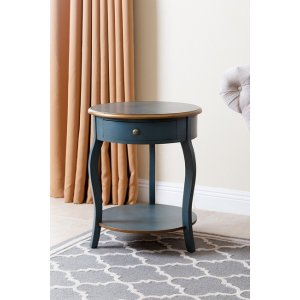 Rustic Teal/Antique Brass Round Wood End Table
