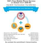 $0.99 FreedomPop Global GSM 3-in-1 SIM Kit + 1GB Data Trial + Powerbank + Selfie Stick