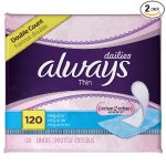 Always Incredibly Thin Regular Daily Liners, wrapped, 120 Count , Pack of 2