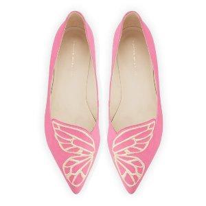 Sophia Webster Bibi Butterfly Suede Flat, Magenta