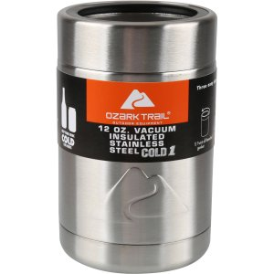 $7.74 Ozark Trail- 12 ounce Vacuum Insulated Stainless Steel Can Cooler with Metal Gasket
