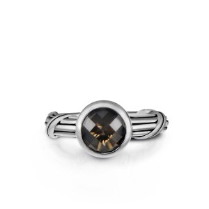 Peter Thomas Roth Ribbon and Reed Fantasies Smoky Quartz Bezel Set Solitaire Ring in sterling silver