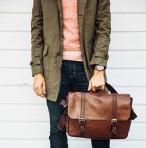 $139.99 Fossil Men's Estate Saffiano Leather East-West Messenger Bag
