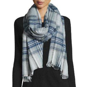 Neiman Marcus Plaid Fringe Scarf, Denim Blue