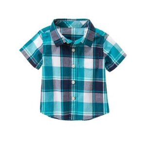 Baby Real Teal Plaid Plaid Shirt by Gymboree