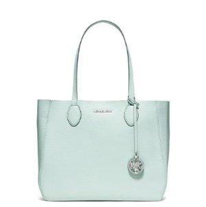 MICHAEL Michael Kors Mae Large Bicolor Tote Bag, Celadon/Silver  @ Neiman Marcus