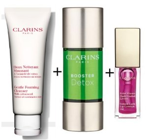 $66.75 Gentle Foaming Cleanser with Cottonseed+Booster Detox+Instant Light Lip Comfort Oil @ Clarins