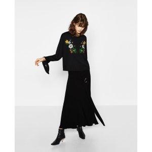 FLORAL EMBROIDERED TOP - SWEATSHIRTS-WOMAN | ZARA United States