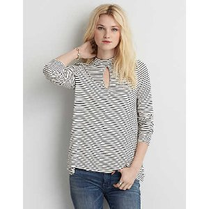 AEO Soft & Sexy Mock Neck T-Shirt , Cream | American Eagle Outfitters