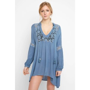 Muche et Muchette Chambray Crochet Long Sleeve Tunic Top   South Moon Under