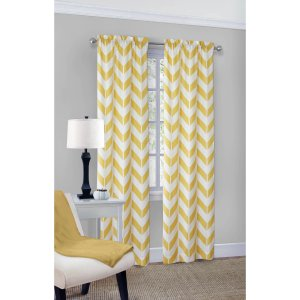 Mainstays Chevron Polyester/Cotton Curtain With BONUS Panel