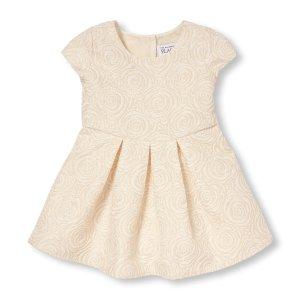 Toddler Girls Cap Sleeve Metallic Rose Brocade Pleated Dress   The Children's Place