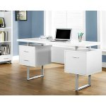 Monarch Specialties White Hollow-Core/Silver Metal Office Desk, 60-Inch