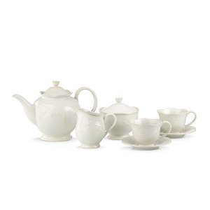 French Perle White 7-pc Tea Set | Gifts under $100