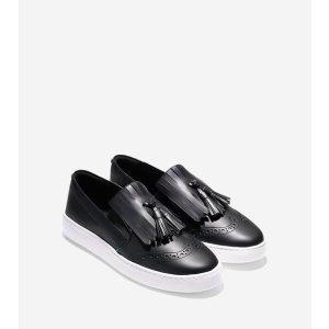 Reiley Tassel Slip On Sneakers in Black Leather   Cole Haan