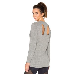 Lanston Sport Cutout Back Sweatshirt in Heather | REVOLVE