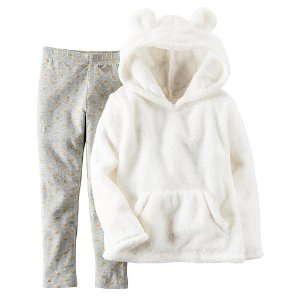 Carter's Girls 2 Piece Ivory Sherpa Hoodie and Grey Legging Set - Toddler - Carters - Babies