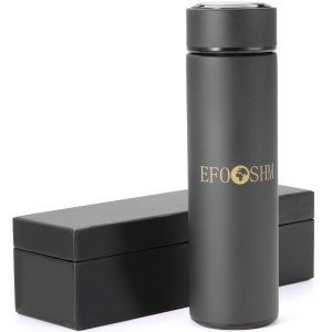 EFOSHM Thermos Insulated Stainless Steel Thermos Water Bottle Travel Mug with Removable Tea Strainer, 16 Oz - Black