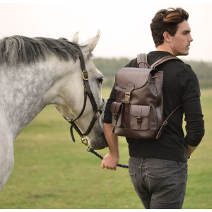 Large Padded Brown Leather Backpack by Beara Beara