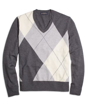 Brooks Brothers Merino Wool Argyle V-Neck Sweater