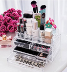 $16.99 Ohuhu Acrylic Makeup Cosmetics Organizer 4 Drawers with Top Section