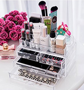 $15.29 Ohuhu Acrylic Makeup Cosmetics Organizer 4 Drawers with Top Section