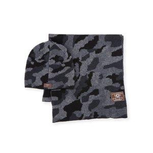 UGG Men's Camouflage Wool-Blend Scarf & Beanie Hat Set