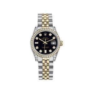 Rolex Datejust Two-Tone Steel/18K Gold Black Diamond Jubilee Womens 26mm Watch | Rolex | Buy at TrueFacet