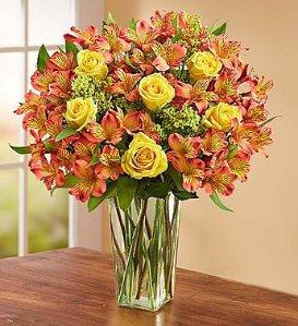 Fall Rose & Peruvian Lilies + Free Vase