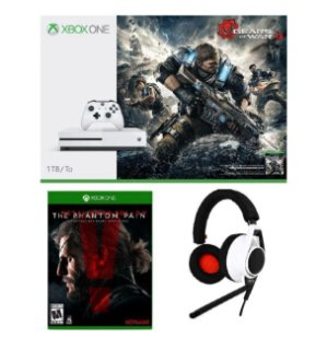 $299.99 Xbox One S 1TB Console Gears of War 4 Bundle + Metal Gear Solid V + Gaming Headset