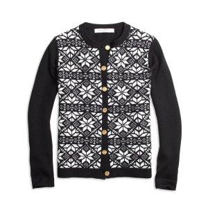 Girls' Merino Wool Black and White Fair Isle Cardigan | Brooks Brothers
