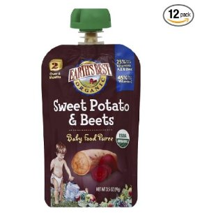 $5.99Earth's Best Organic Stage 2, Sweet Potato & Beets, 3.5 Ounce Pouch (Pack of 12)