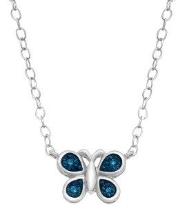 Teeny Tiny Butterfly Necklace with Blue Diamonds