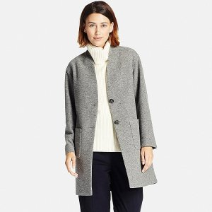 WOMEN SOFT WOOL BLEND COLLARLESS COAT | UNIQLO US