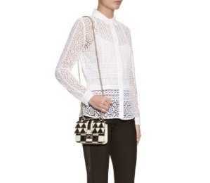 VALENTINO Lock Mini Leather And Snakeskin Shoulder Bag