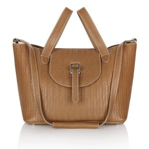 Luxury light tan leather tote bag - thela bag