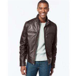 MICHAEL Michael Kors Hipster Leather Jacket - Coats & Jackets - Men - Macy's
