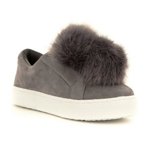 Sam Edelman Leya Faux-Fur Pom Pom Suede Slip-On Sneakers | Dillards