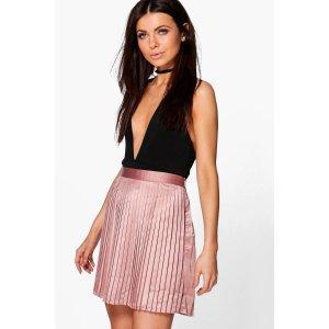 Emilia Matte Satin Pleated Mini Skirt