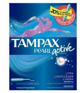 Tampax Pearl Active, Light Absorbency, Unscented Tampons, 18 Count