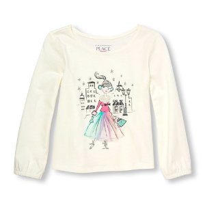 Toddler Girls Long Sleeve Embellished Winter Skirt Girl Graphic Top | The Children's Place