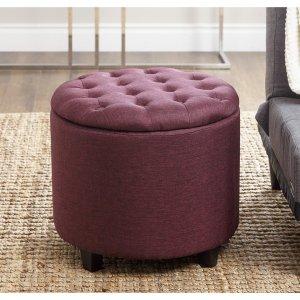 ABBYSON LIVING Avery Purple Tufted Lid Top Storage Ottoman