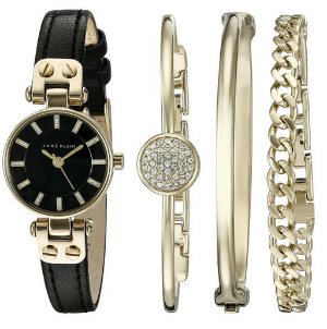 Anne Klein Women's AK/2050GBST Gold-Tone Watch with Black Leather Band and Three-Bracelet Set